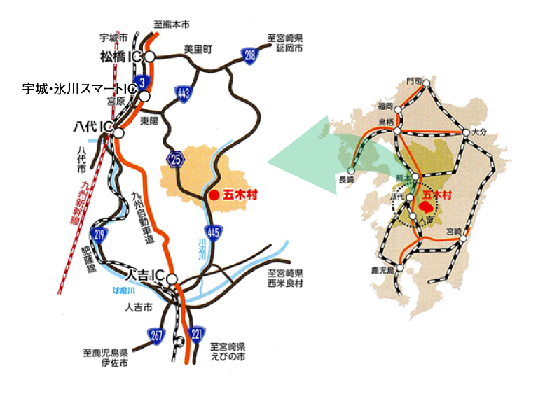 五木村へのアクセスマップ
